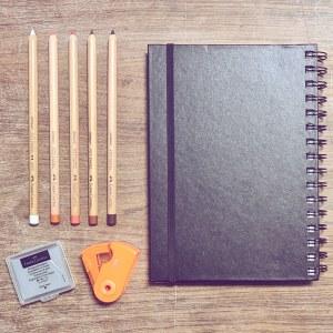 סט ספר רישום ועפרונות