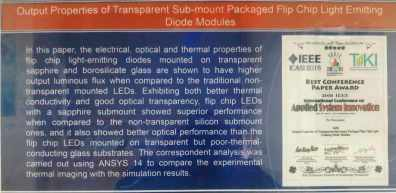Output Properties of Transparent Sub-mount Packaged Flip Chip Light Emitting Diode Modules
