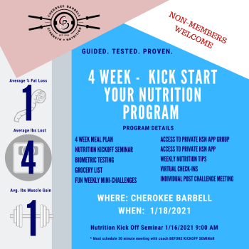 4 WEEK KICK START YOUR NUTRITION PROGRAM