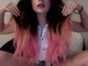 brunette with dip-dyed pink hair