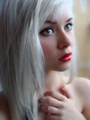 girl with white hair & red lips