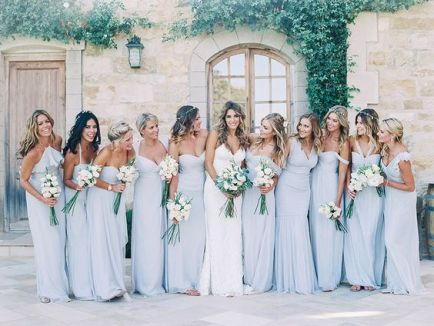 today we are seeing more and more brides choosing to have their bridesmaids wear different styles and colors some decide to go with different shades of the - Bridesmaid Dresses Same Color Different Style