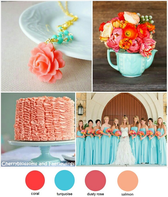 Color Series #19 - Coral + Turquoise - Wedding Blog | Cherryblossoms ...