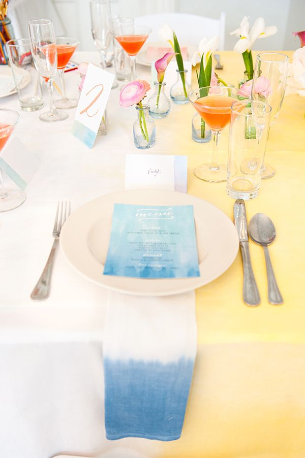watercolor table napkin