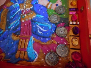 Close up of her coins