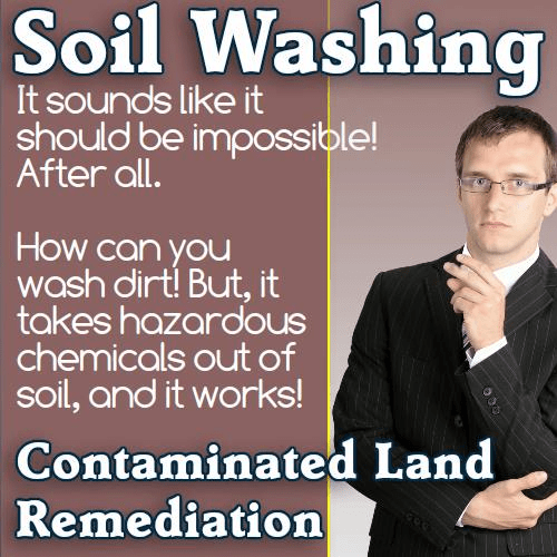 A meme which explains soil washing.