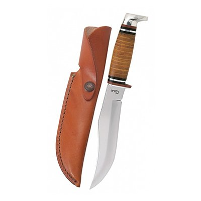 381-6 SS Leather Hunter w/Sheath