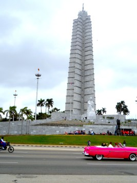 More facts about Cuba: The José Martí Memorial and museum, Havana's tallest building. There were events taking place outside at the time, by school children from local Havana schools - following street processions.