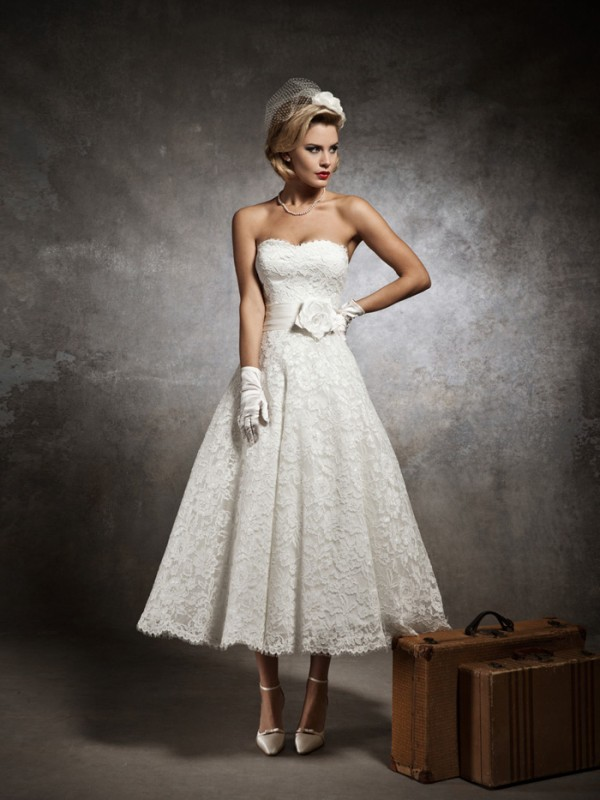 strapless lace sweetheart tea length wedding dress