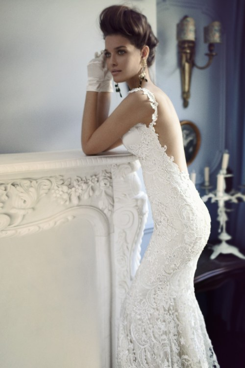 lace wedding dress with open back and crystal beading