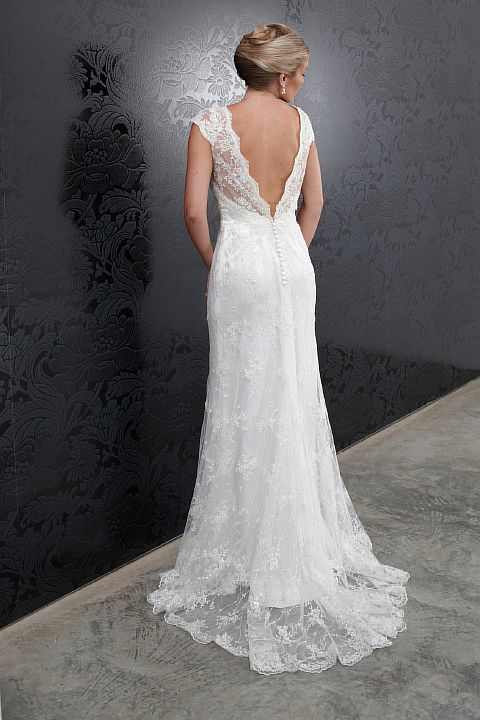 vintage lace wedding dress with cap sleeves and low v-back