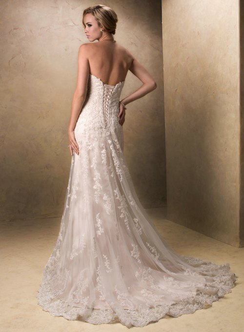 vintage lace wedding dress with cap sleeves and open back