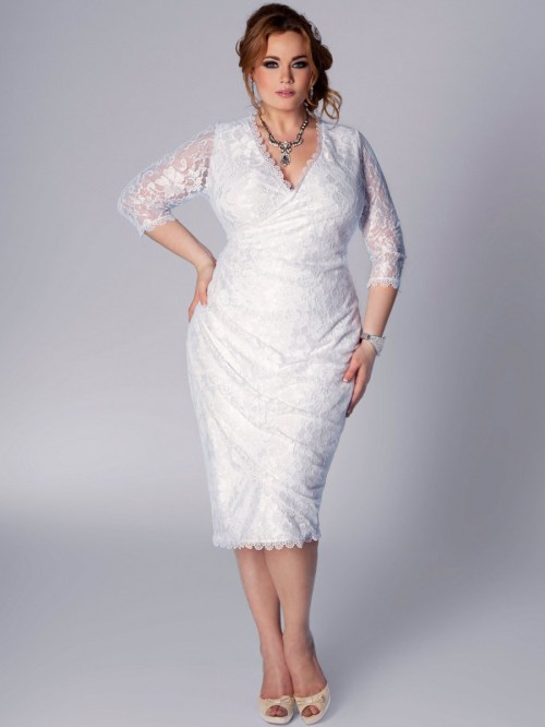 plus size short lace v-neckline wedding dress
