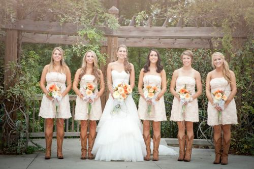 rustic strapless white wedding dresses with boots