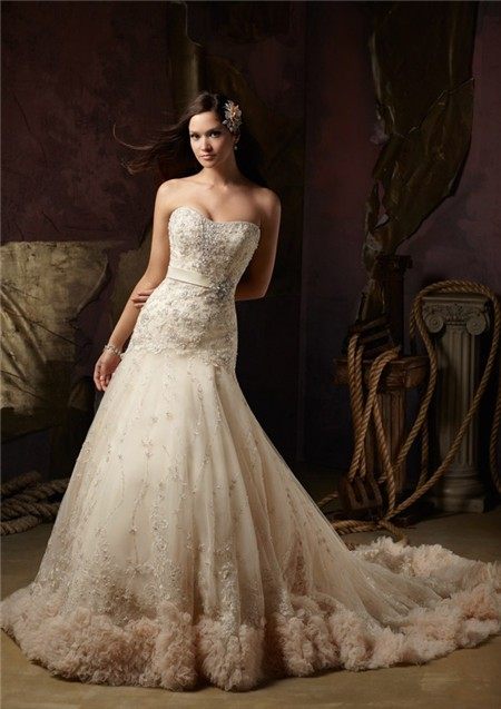 Classy Colored Lace Wedding Dresses
