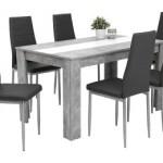 41% sparen – 7-teilige Tischgruppe MAREIKE Beton Optik/ grau – nur 119,00€