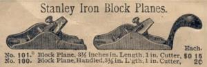 Stanley 100 & 101 - 1898 Stanley Catalog