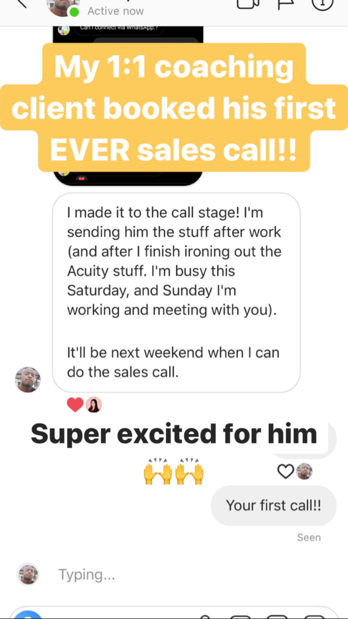 "Testimonial: ""He got his first EVER sales call!!!"""