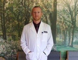 Dr Lars Landers in the reception room at Cherubino Health Center