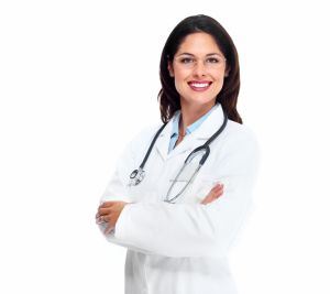 Female doctor wearing white lab jacket