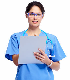 Woman Dr. with iPad at Cherubino Health Center