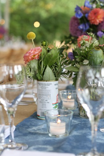 wedding, table, flowers, glasses, olive tins
