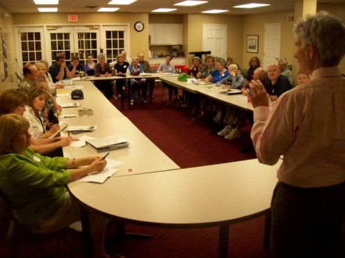 Cec Murphey speaking to my writers group (FCW) in Tulsa, OK
