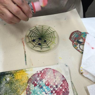 spider web stencil on Gelli plate