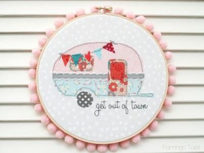 retro trailer embroidery