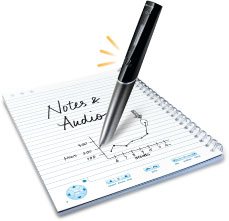 LiveScribe pen writing in a notebook