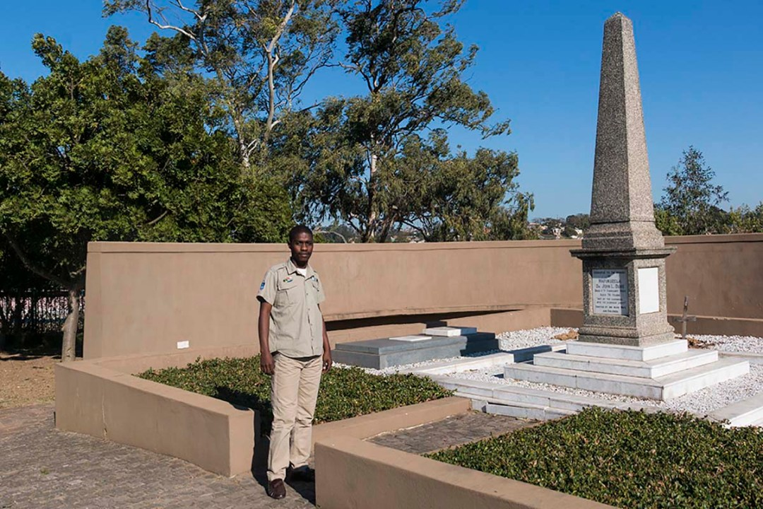 Sanele our Guide at John Dube's grave site