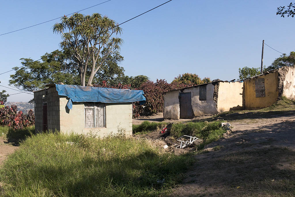 Humble homes belonging to families in the community