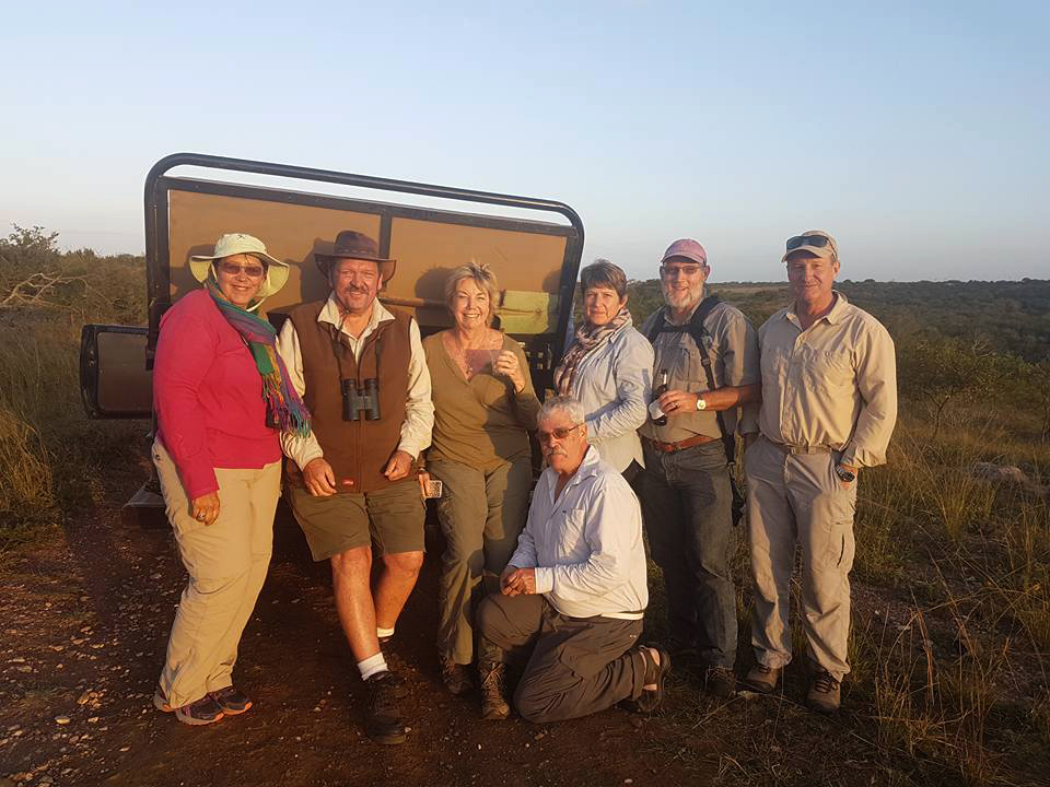 Group of biirdwatchers enjoying sundowners after a successful twitch