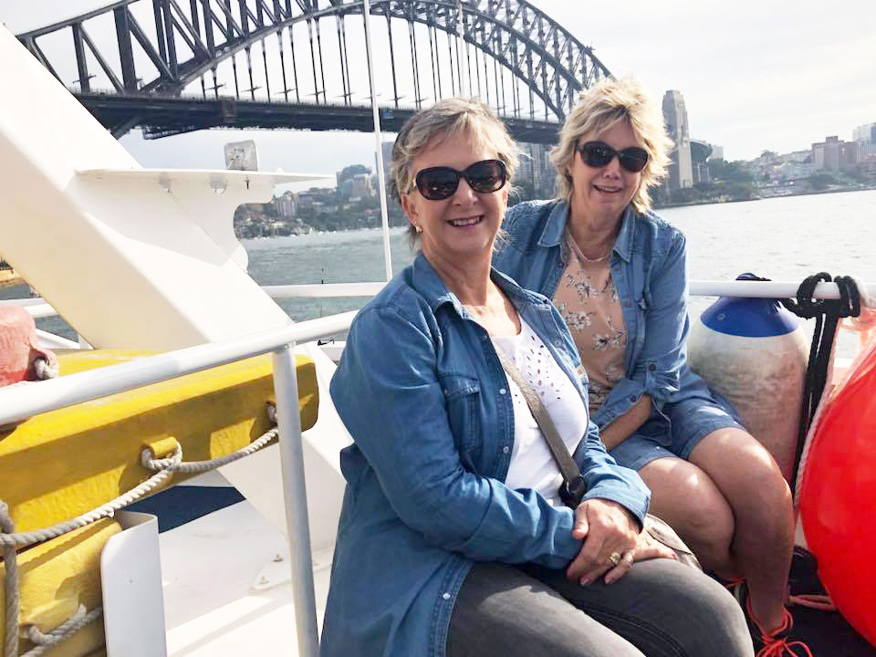 On ferry with Sydney's Harbour bridge behind us