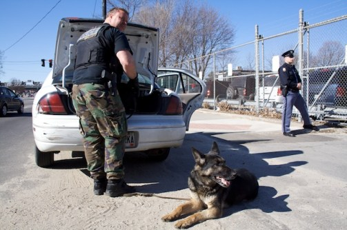 In 2008, 72% of the K-9 calls that Kevin and Baron answered were for illegal drug searches of vehicles, rooms, or persons. Baron is trained to find cocaine, heroin, marijuana, and methamphetamine.