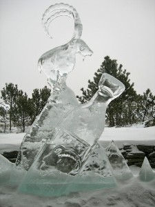 Ice sculpture at Trapp Family Lodge in snow, Stowe VT February 2011