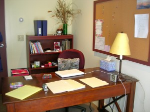 My studio desk at Vermont Studio Center February 2011