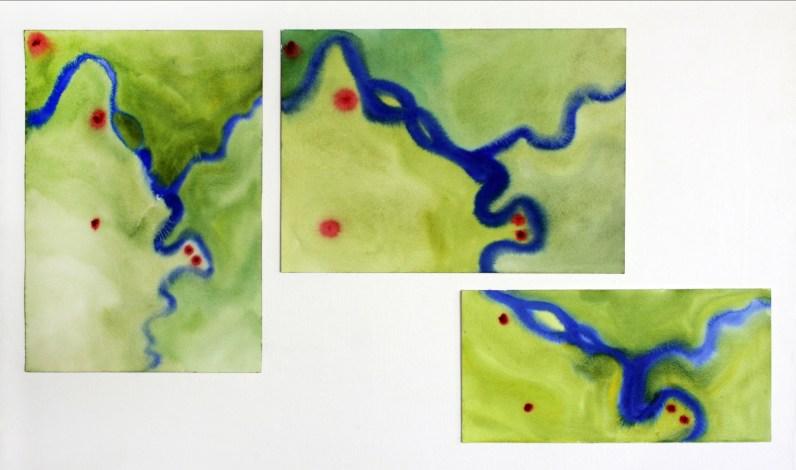 "River Suite, watercolor on paper, 20 x 14"", 14 x 20"", 9 x 18"", 2013"