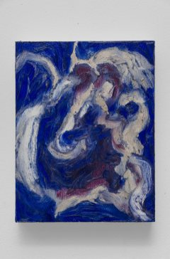 "Blue #3, oil bar on panel, 9 x 7"", 2015"