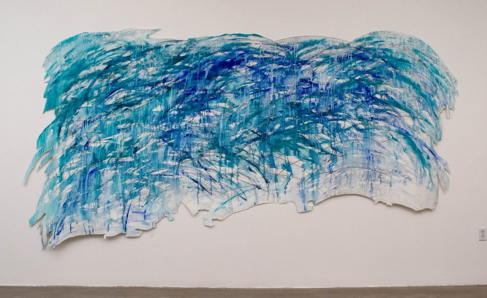 """Wave, acrylic & graphite on paper, 77 x 147"""", 2008"""