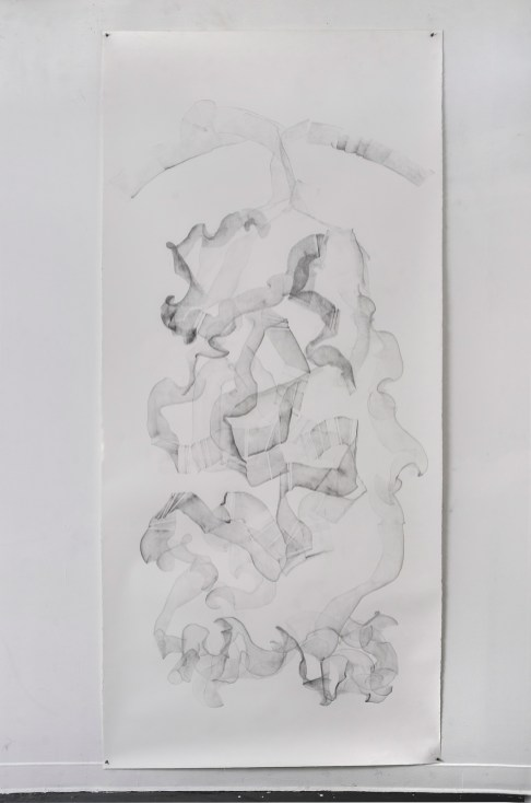"For Emilie V, graphite on paper, 108 x 50"", 2014"