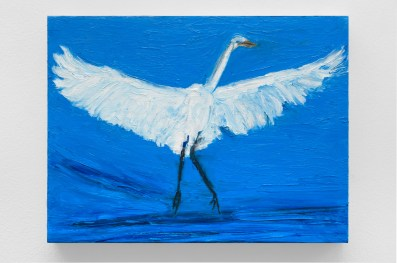 "Great Egret 1, oil bar & graphite on panel, 9 x 12"", 2015"