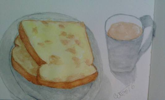 Art before Breakfast - Coffee with buttered toast