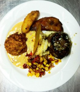 Filet Mignon with Demi-Glace, Crab Cake with Hollandaise Sauce, Corn and Sun-Dried Tomatoes, Mashed Potatoes, and  Plantains - Chesapeake Conference Center