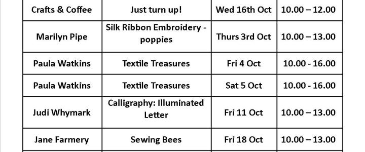 October Craft Classes at Workaid!