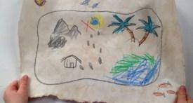 make treasure map, treasure map craft, treasure map school project
