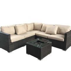 Maze Rattan Half Moon Sofa Set Grey Kivik And Chaise Lounge Orrsta Light Gray Cheshire Sandstone Porto Corner With Ice Bucket
