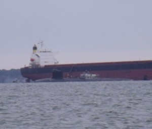 You never know what you'll see on a workday. We spotted a submarine broadside a freighter on the way back to Eastport