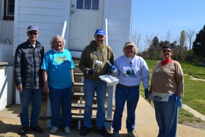 Volunteers in front of recently repainted addition. L to R Andy Gray, Paula Liebrecht, Tony Pasek, Lauren Liebrecht, Joan Spiece