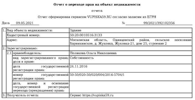 Выписка Аникеев Рублевка